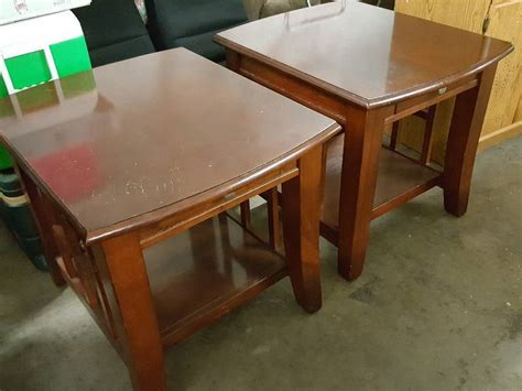 dark cherry wood end tables cool old pair of dark cherry wood side end tables with