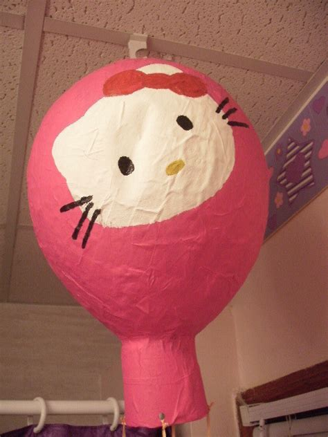 papier mache  kitty hot air balloon