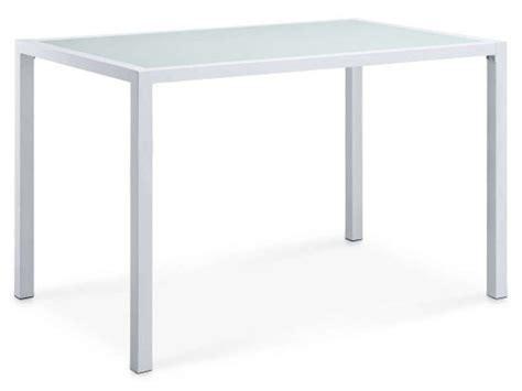 table cuisine en verre table rectangulaire en verre vanon coloris blanc