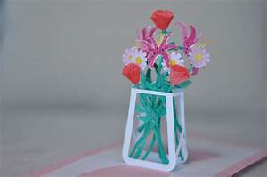 flower bouquet pop up card template With flower pop up card templates