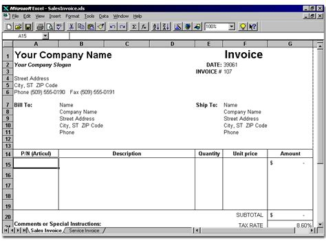 8+ Invoice Template Excel Sample