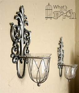 Silver wall sconce candle holder contemporary silver for What kind of paint to use on kitchen cabinets for metal twig candle holder