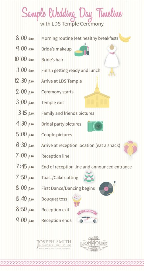 wedding day timeline memo heading