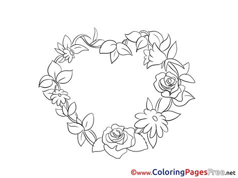 Roses Wreath Valentines Day Colouring Sheet Free