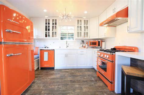 Orange Retro Kitchen Appliances with Modern Touch