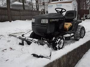 Murray Lawn Tractor Riding Mower Plowing Snow