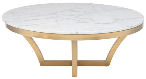gold base coffee table nuevo aurora coffee table in brushed gold base and white