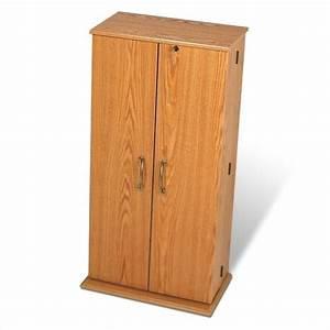 Prepac Tall Locking CD DVD Media Storage Cabinet Oak eBay