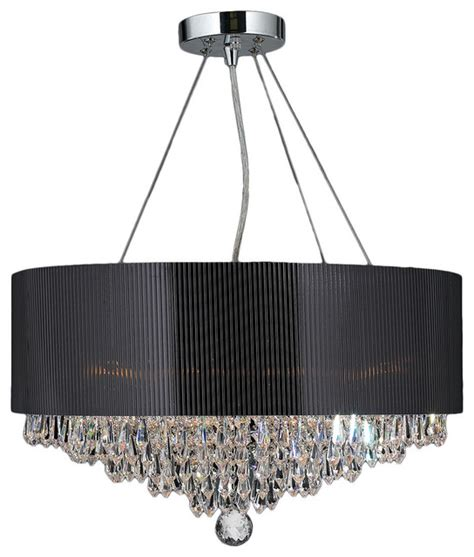 Black Drum Shade Chandelier With Crystals by Gatsby 8 Light Chrome Finish And Chandelier 20