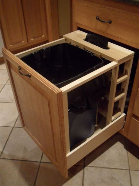 kitchen cabinet garbage drawer 29 sneaky ways to hide a trash can in your kitchen digsdigs 5419