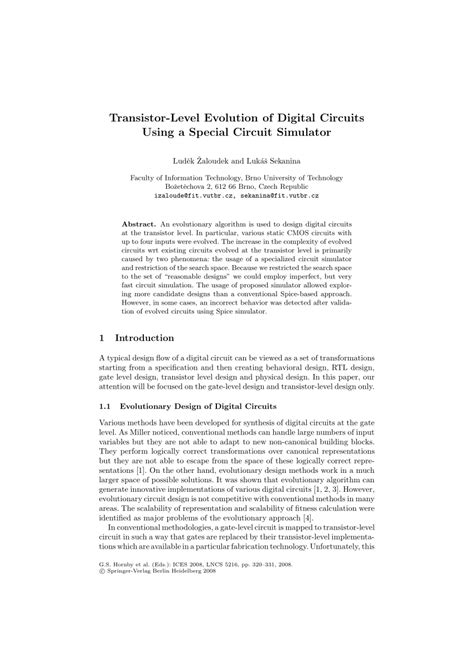 Pdf Transistor Level Evolution Digital Circuits Using