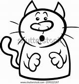 Cat Cartoon Surprised Coloring Clip Funny Illustration Clipart Symbol Rockhound Startled Vector Drawing Template sketch template