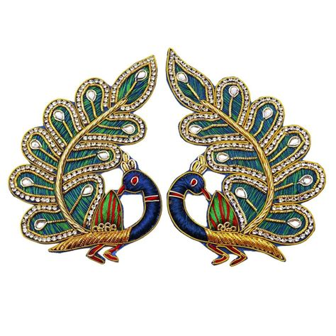 Peacock Applique by Indian Applique Multicolor Peacock Decorative Appliques