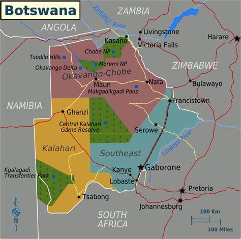 Karte Botsuana (Übersichtskarte/Regionen) : Weltkarte.com ...