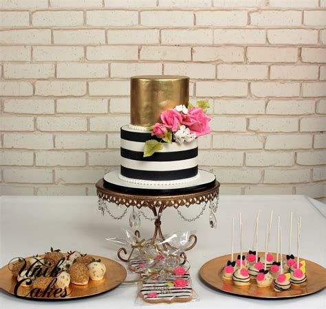 Black White And Pink Decorating Ideas kate spade inspired birthday cake and dessert table the