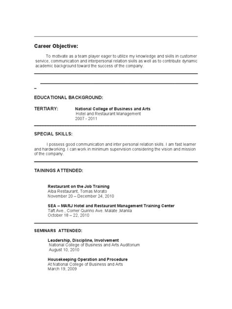 Cooking Hobby Resume by Hobbies In Resume Writing Line Cook Resume Objective