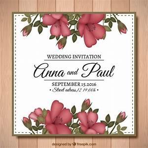 hand drawn vintage flowers wedding invitation vector With vintage flowers wedding invitations vector