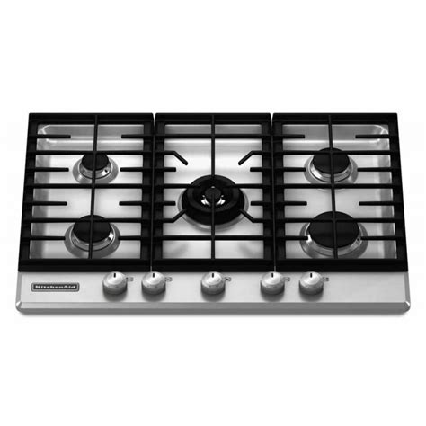Five Burner Gas Cooktop by Kitchenaid Kfgs366vss Stainless Steel 36in Gas Cooktop