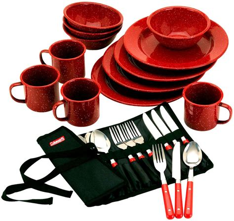 camping dinnerware dish outdoor quality patio dishes sets camp kit camper plates dinner outdoors tableware pack 24pc trip