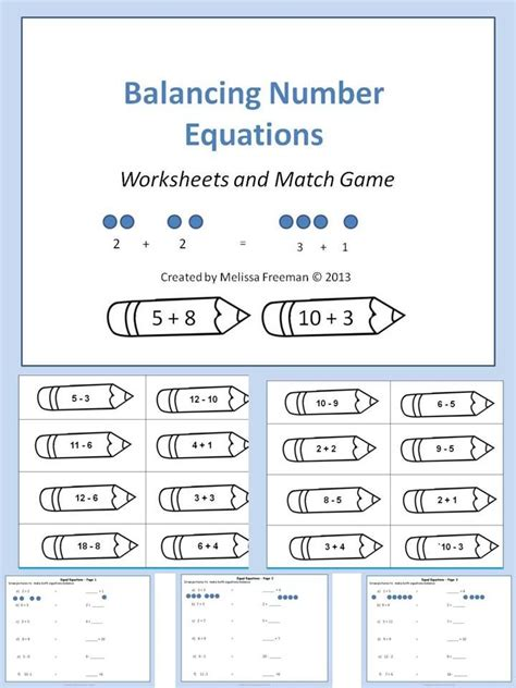 a balancing number equations game and worksheets second