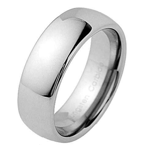 8mm Tungsten Carbide Classic Dome Mens Wedding Band New  Ebay