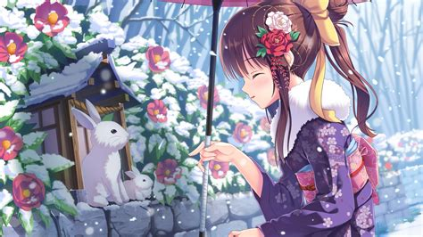 wallpaper anime girl beauty winter rabbits snow