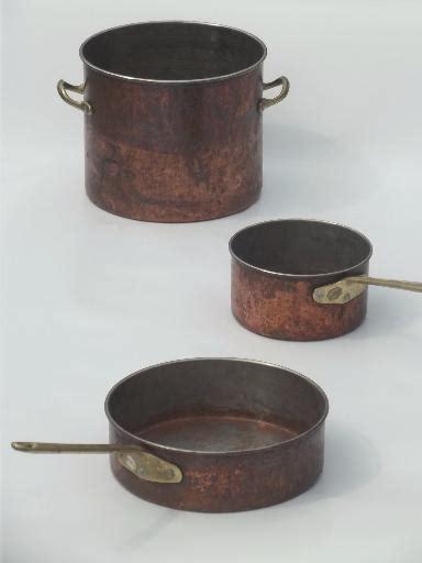worn  copper pots pans vintage copper stockpot saucepans lot