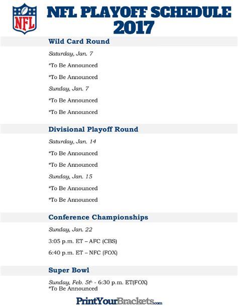 nfl playoff bracket printable nfl playoff schedule