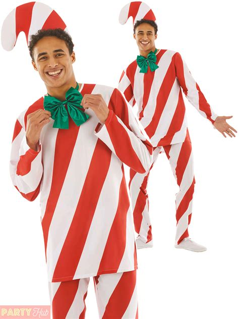 christmas xmas adults mens candy man cane fancy dress