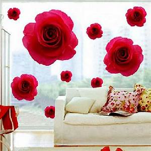 Elegant Red Rose Flower Wall Sticker Decals Removable Home ...