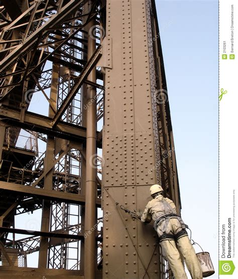 eiffel tower maintenance parisfrance stock image