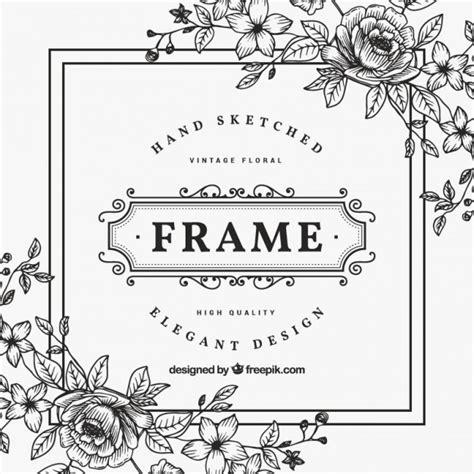 cadre vintage de fleur noir et blanc t 233 l 233 charger des vecteurs premium