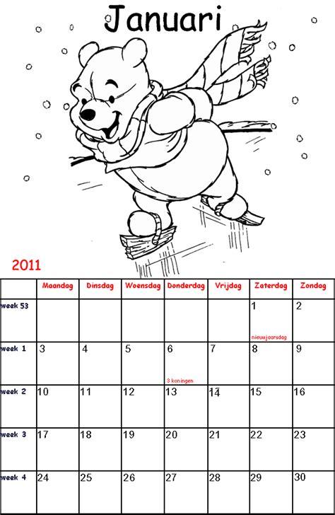 Kleurplaat Sinterklaas Kalender by Winnie De Poeh Kalender Kleurplaten