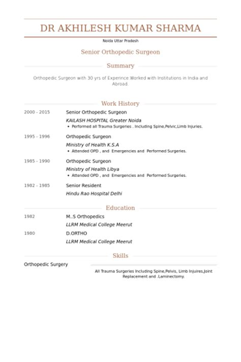 Orthopedic Surgical Resume by Orthopedic Surgeon Resume Sles Visualcv Resume Sles Database