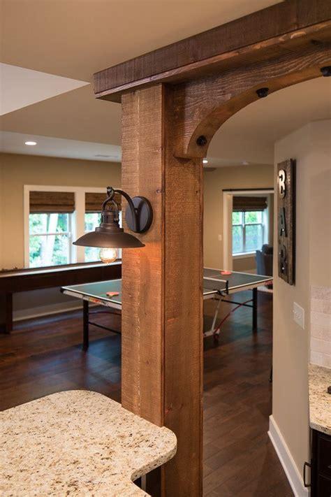 close   cedar beams supporting  wrap  bar