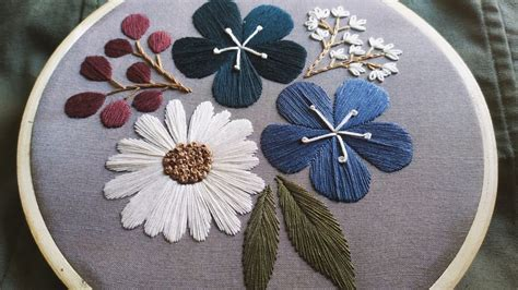 botanical embroidery  begginers   embroidered