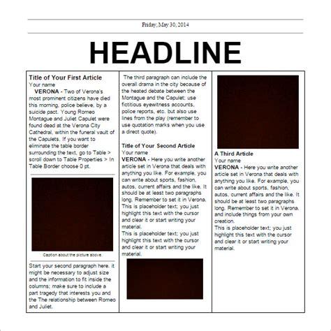 school newspaper templates   eps documents