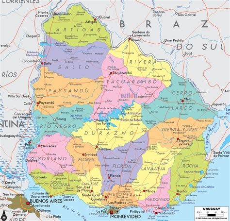 political map  uruguay ezilon maps
