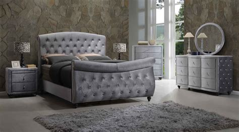 pc set contemporary bedroom furniture queen size grey