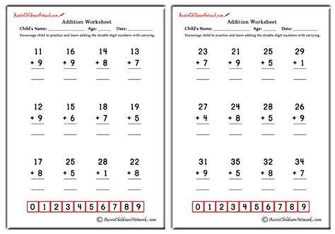 double digit addition worksheets  carrying aussie