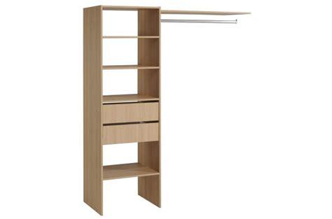 penderie avec 233 tag 232 re et 2 tiroirs de rangement couleur bois meuble de rangement pas cher