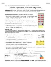 Control application configuration and behavior without changing code. Copy of Electron Configuration SE.docx - Name Ayat Zatar Date June 25 Student Exploration ...