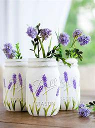 Painted Mason Jars Lavender Flower