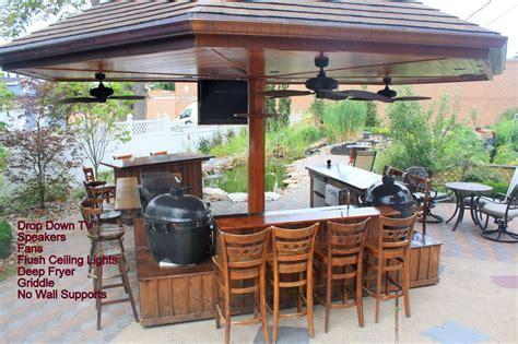 custom outdoor kitchen   big green egg kamado joe
