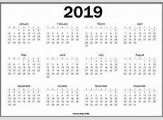 Free 2019 One Page Calendar Templates 2019 Printable