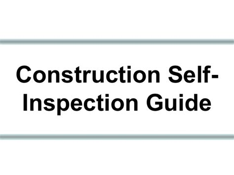 Construction Self Inspection Guide