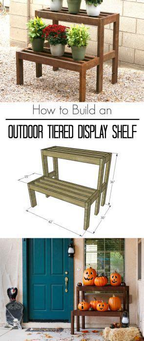 build  outdoor tiered display shelf woodworking