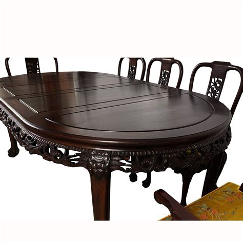 Gently used, vintage, and antique chinese coffee tables. Vintage Chinese Carved Rosewood Dragon Dining Table with 8 ...