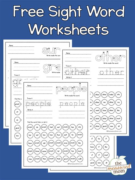sight word worksheets  measured mom