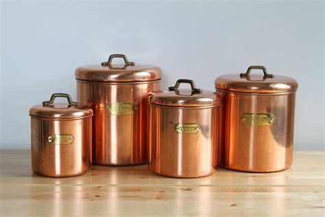 vintage copper canisters shabby chic metal canister set